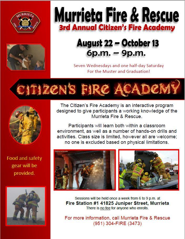 Safety Poster Bernilai Murrieta Fire Rescue Citizen S Fire Academy Murrieta Fire