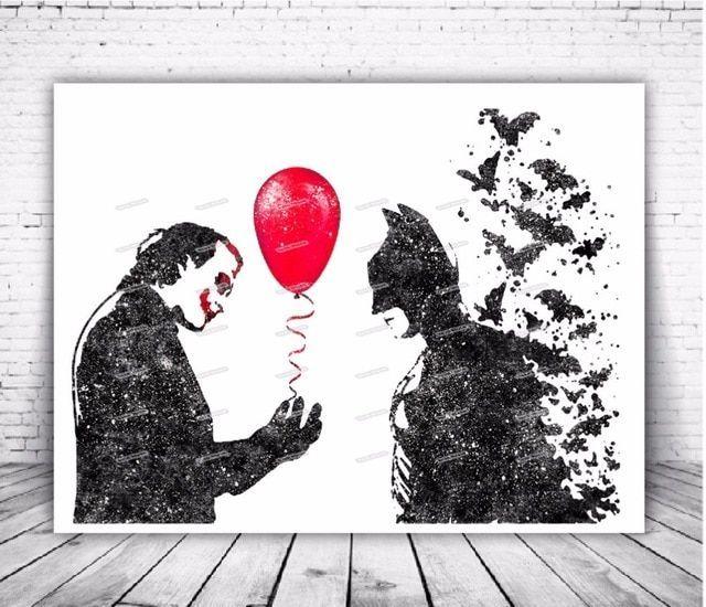 cat air asli batman dan joker poster mencetak kanvas lukisan modern gambar wall art living room