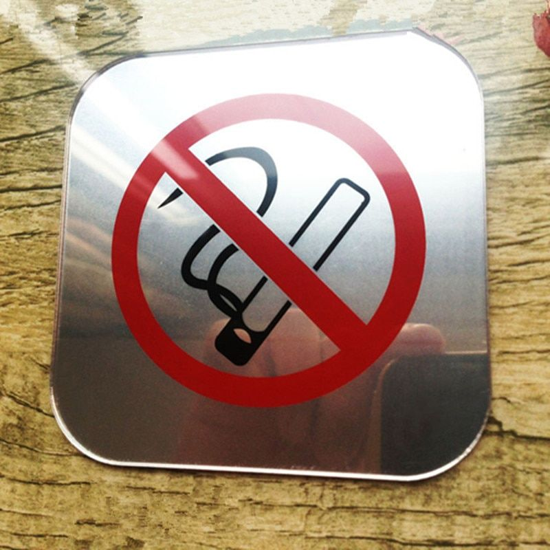 acrylic mirror no smoking tip sticker signage acrylic silk screen no smoking sign do not smoke
