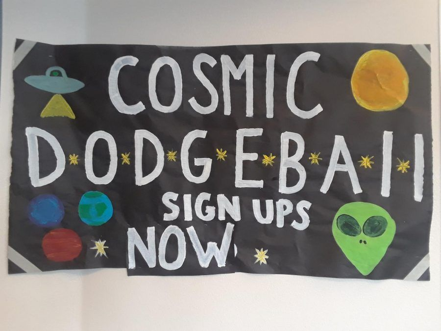 the cosmic dodgeball tournament poster has galaxy themed