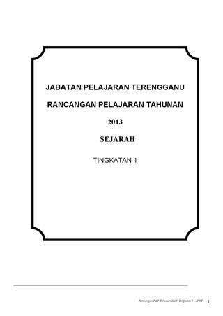 jabatan pelajaran terengganu rancangan pelajaran tahunan 2013 sejarah tingkatan 1