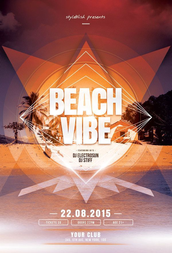 beach vibe flyer by stylewish buy psd file 9 design poster graphic