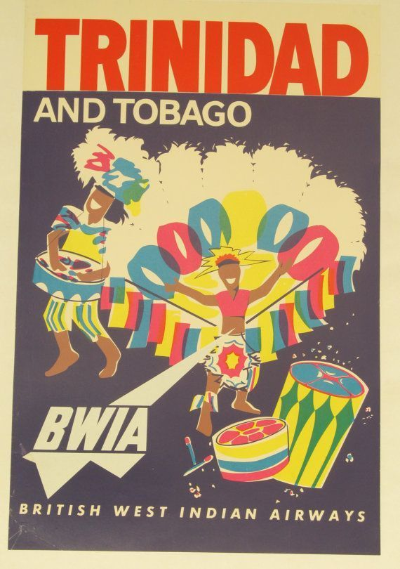 Travel Poster Berguna Cayman islands Caribbean island by Air Bwia Travel Advertisement Art