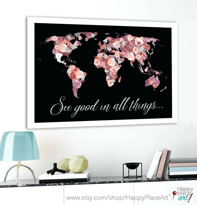 image 0 pretty world map outline floral red